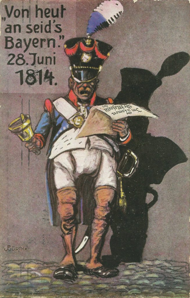 """Postkarte """"Von heut an seid's Bayern."""" 28. Juni 1814"""