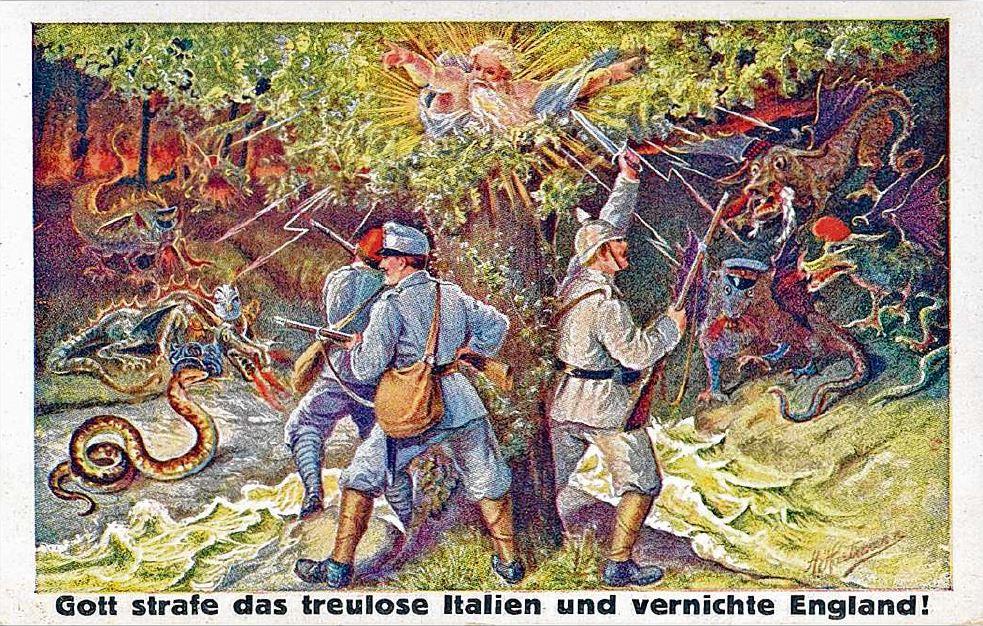 Postkarte aus dem Ersten Weltkrieg: Gott strafe das treulose Italien und vernichte England!