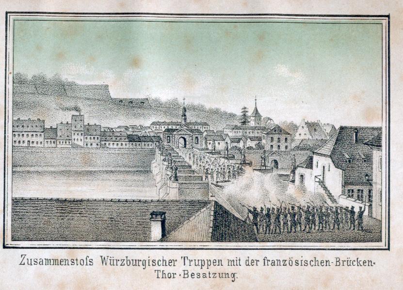 Bayerisch-österreichische Soldaten gegen französische Soldaten, Schlacht, Alte Mainbrücke