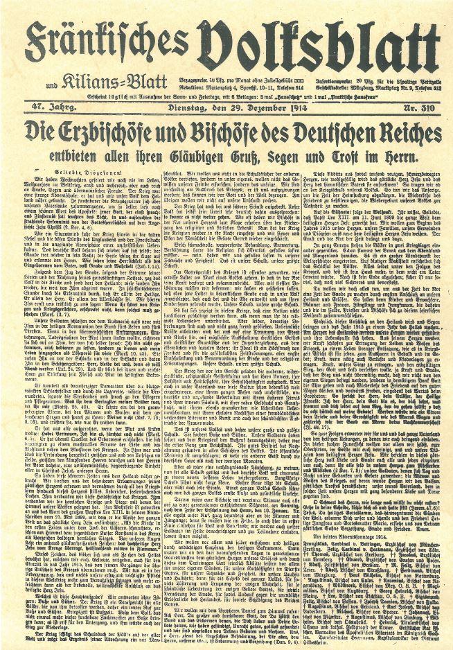 Hirtenbrief der Deutschen Bischofskonferenz, abgedruckt im Fränkischen Volksblatt vom 29. Dezember 1914.