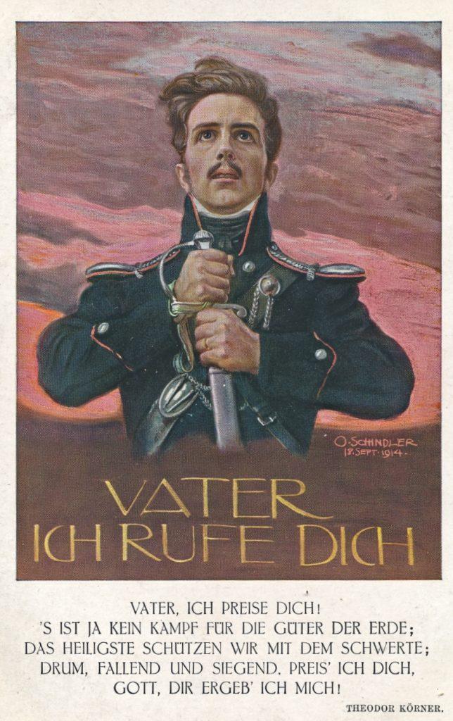 Postkarte aus dem Ersten Weltkrieg. Vater ich rufe dich, Gedicht von Theodor Körner